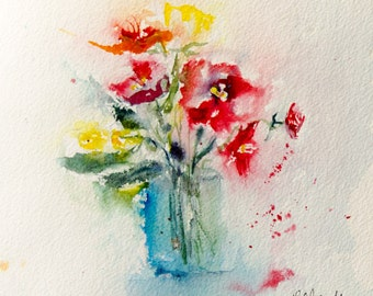 """Original watercolour of a bunch of flowers in a vase, Original painting of red and yellow flowers, home decoration - 7,87"""" x 7,87"""""""