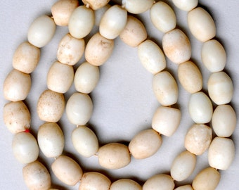 Old White Bohemian Glass Egg Beads - Vintage African Trade Beads - 30 Inch Strand (50 Beads)