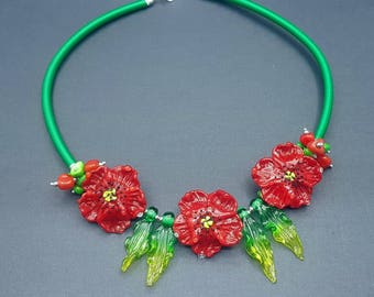 The Bewitching Poppies Bib necklace Chunky Jewelry Lampwork beads Murano red glass necklace Glass beads floral Red Statement Jewelry