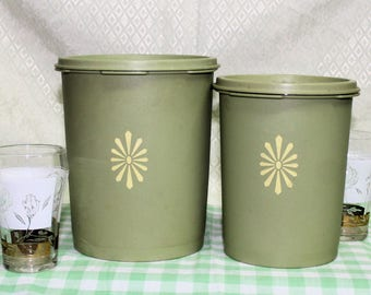 Vintage Tupperware Avocado Green Storage Canisters, Pair of Sunburst Containers with Matching Servalier Lids, Set of 2 Tupperware Canisters