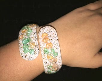 White Multi Colored Lucite Shell Bangle