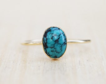 Gold Turquosie Ring, Turquoise Ring, Delicate Gold Ring, Stacking Ring, Stacking Turquoise Ring, Gold Plated Ring