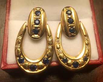 Vintage 18k Gold Diamond and Sapphire Earrings