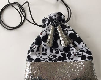 Toddler Drawstring Crossbody Coin Pouch Mickey Print/Glitter