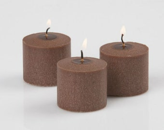 72 Cinnamon Bun Scented Votive Candles Brown, Holiday Christmas candles, Xmas Wedding Candles, Bulk set Candle, unique cinnamon candle