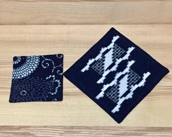Japanese indigo mug rug and coaster 2pcs