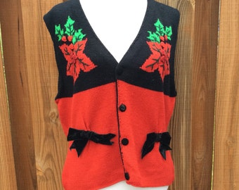 Vintage Ugly Christmas Knit Sweater Vest, Christmas Sweater Red & Black Poinsettia Bows Ladies Signature Expressions Size Large Holiday Tops