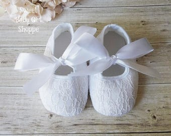 Christening Shoes - White Lace Shoes - Baby Girl Christening Shoes - Baptism Shoes - Baptism Shoes Girl - Flower Girl Shoes