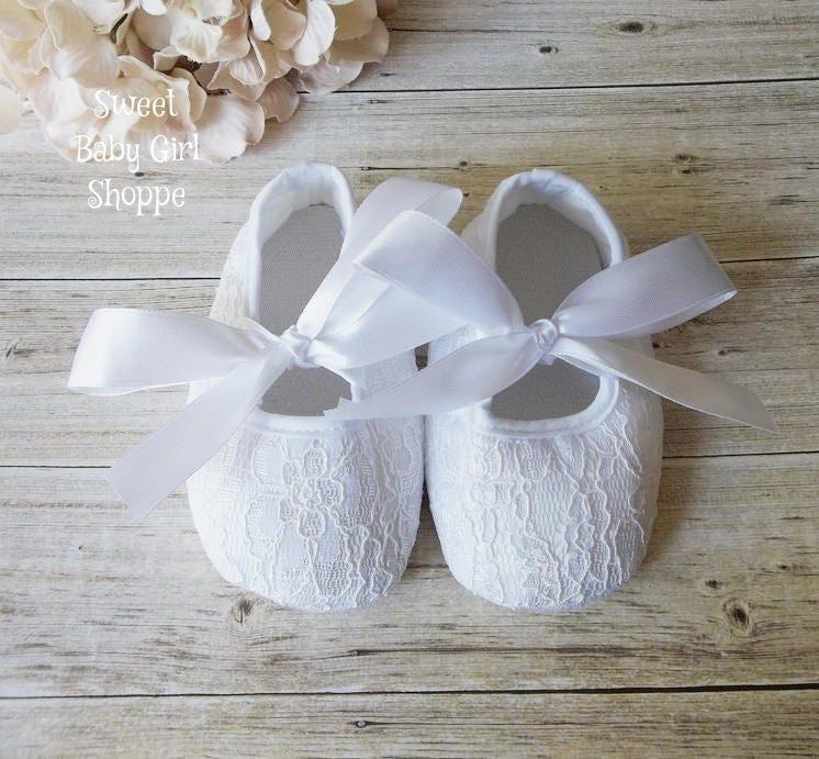 Christening Shoes White Lace Shoes Baby Girl Christening