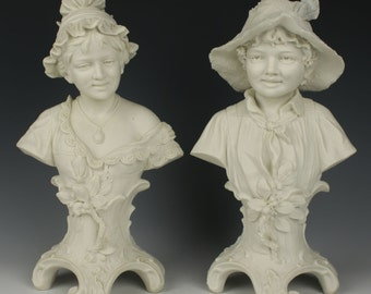 Antique Royal Dux pair of figurines Busts of Boy & Girl