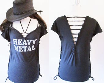 Black Heavy Metal distressed shirt S/S  S-XL