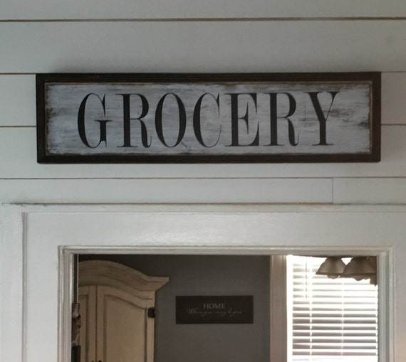 Wood Grocery Sign Farmhouse Wall Decor Kitchen Signs Rustic