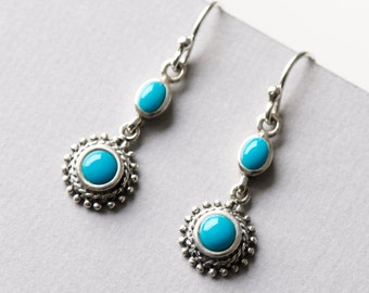 Turquoise Set on 925 Sterling Silver Earrings, Dangle Drop Earrings, Silver Earrings, Turquoise Jewelry, Gift For Her
