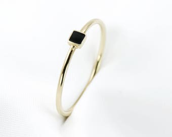 Dainty Ring, 9k Gold Thin Ring, Minimalist Ring, Square Ring, Solitaire Ring, Rose and Choc, Gold Ring, Stackable Ring