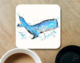 Whale coaster, wooden coaster, whale lover gift, table coaster, drink coaster, tile coaster, housewarming gift, coasters