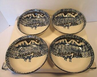 "Folk Craft Wolf Design by Tienshan 6.25"" set of 8 Bowls. Free Shipping."