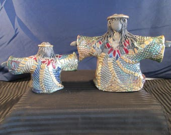 Set of Angel Clay Figures with colors of Red, Blue and Gold. Free Shipping.