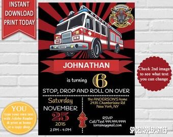 Fireman Birthday Invitation |Firetruck Invitation, Firefighter, Fireman, Firetruck Birthday, Fire Engine, Fire Truck Party INSTANT DOWNLOAD