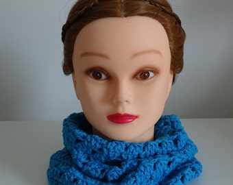 Blue Infinity Scarf Cowl Crochet 100% Cotton