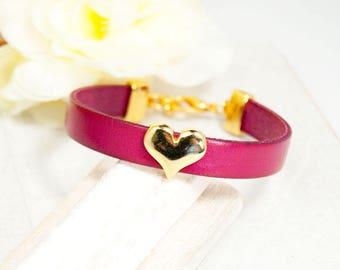leather bracelet fucsia Heart gold plated  handmade #4260