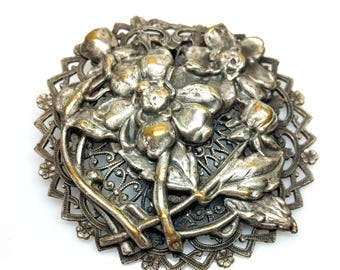 Antique 1910s Sterling Silver Over Brass Plated Flower Open Work Round Dress Clip