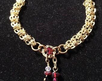 Handmade women's Genuine Garnet Gemstone Golden Chainmaille Crystal Bracelet jewelry, Ganet bracelet, Chainmaille bracelet