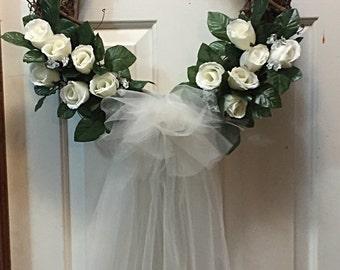Rose Wreath, Floral Decor, Floral Wreath, Front Door Decor, Wedding Decor, Wedding Wreath