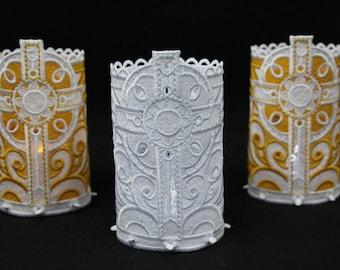 Cross  ~ Votive ~ Tea Light Holder ~ Free Standing Lace ~ Religious ~ Faith ~ Decor ~ White ~ Gold ~ Wedding ~ Easter ~