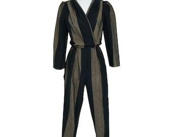 1970's Vintage Women's 0 or XS Black & Brown Striped High Waist Jumpsuit Punk Rock