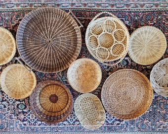 Set of 10 Wall Hanging Baskets, Wall Hanging, Baskets, Basket Wall Art, Hanging Basket, Woven Basket, Bohemian Decor