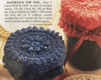 1989 PDF vintage crochet lid covers pattern , crochet lid covers pattern,