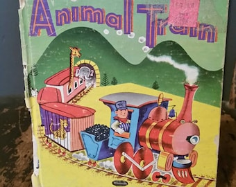 Animal Train Whitman Tell a Tale Childrens Book/Collectible Book/Childrens Books/Repurpose Project/Nursery Decor/Circus Animals/1960s