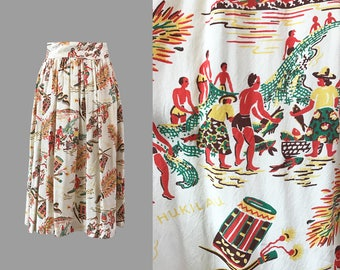 1940s Novelty Hawaiian Print Rayon Skirt