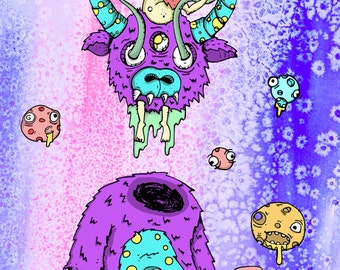 """Space Goat 36""""x24"""" Giclee"""