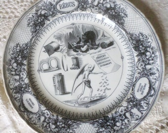 French Antique transferware Rebus Plate Black and White c.1845 Old and Rare Bordeaux manufactury w death skeleton mourning plate bear honey