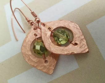Copper Teardrop Boho Hammered Earrings