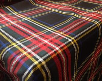 """Black Stewart Tartan Scottish Tablecloth 96"""" x 58"""""""
