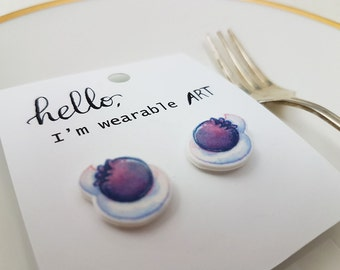 Blueberries and Cream Earrings, Hand Made Shrinky Pin Jewellery, Yummy Cute Berries, Wearable Food, Foodie Delicious Gift Accessory