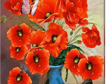 EXQUISITE Still Life Poppies Canvas Art Print - Various Sizes To Choose From