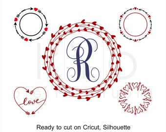 Valentine's Day SVG cut files, Love Heart SVG, Arrow svg, Arrow Monogram, Heart svg,  Heart Wreath svg cut files for Cricut and Silhouette