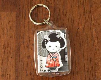 Keychain, keyring, photo keychain, photo lanyard, geisha photo, geisha picture, tokyo photo, japan picture, tokyo picture, japan photo