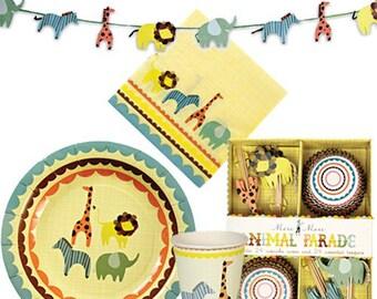 Meri Meri Animal Parade Collection Tableware/Gift Bags//Napkins//Plates//Cups