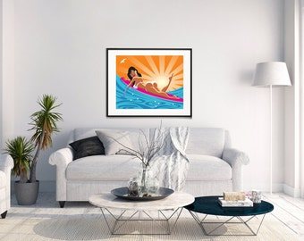 Surf Print, Surf Art, Surfing Art, Beach Art, Surf Decor, Ocean Art, Surfing Print, Home Decor, Ocean Print, Surfing Poster, Surfer Girl