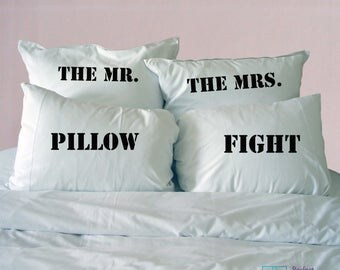 Mr & Mrs Pillowcases, Couples Pillowcase Set, Pillow Fight Pillowcases