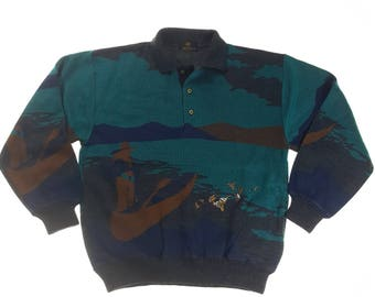 Vintage MacEvans full print Multicolored Pattern Designer Sweatshirt