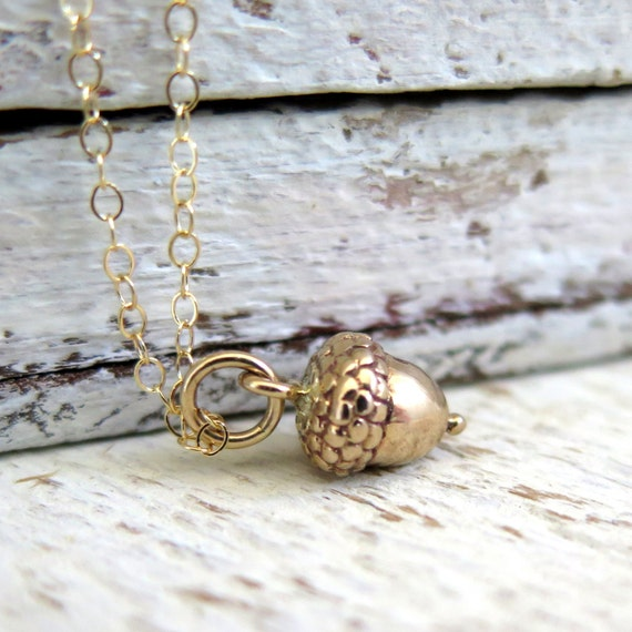 Acorn Necklace, Gold Acorn Necklace, Tiny Gold Acorn Necklace, Nature Jewelry, Woodland