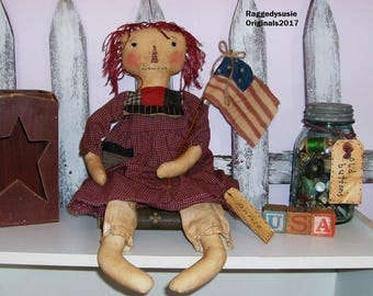 Primitive Raggedy Ann doll Homespun Americana with hand painted FLAG