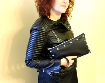 Black Clutch,Rivets clutch,Black handbag,Party bag,Vegan bag,Rocker Bag,Portfolio of hand,Clutch bag,Vegan clutch,Evening bag,Evening purse