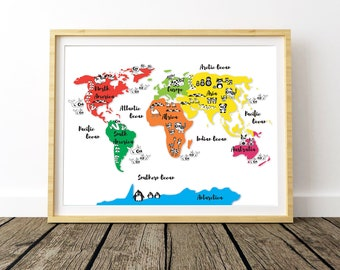 Animal World Map, World Printable Map, World Map Wall Art, Large Wall Map, World Map Poster, World Map Print, Nursery Decor, Nursery Prints