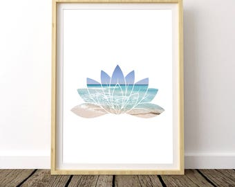 Beach Lotus, Pilates Decor, Yoga Poster, Pilates Print, Yoga Art for Home, Girlfriend Gift, Wall Art Above Bed, Yoga Art for Bedroom